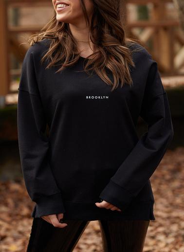 XHAN Brooklyn Basklı Sweatshirt  9Kxk8-41670-02 Siyah